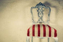 Upholstery work. Wooden chair painted with beautiful fabric Royalty Free Stock Photography