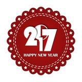 Upiększony czerwony round faborku znaczek odizolowywający na bielu Nowego Roku 2017 pojęcie Obraz Royalty Free