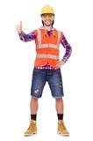 upisolated的年轻建筑工人拇指  库存照片