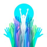 Uplifting image of womens empowerment. With hands and a sun for print or web vector illustration