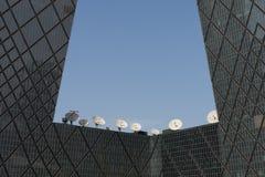 Uplink el plato de la instalación de las telecomunicaciones Imagen de archivo