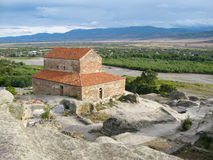 Upliscikhe洞城市和教会在乔治亚 库存图片