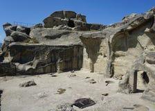 Uplistsikhe-Quadrat voll von den Felsen und von den Carvings stockfotos
