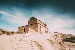 Uplistsikhe Shida Kartli region, Georgia Stentrappuppgång till den Uplistsuli kyrkan eller kyrkan av prinsen In Famous Landmark arkivfoto