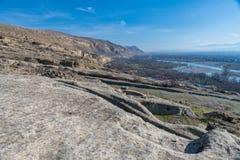 Uplistsikhe, una città roccia-spaccata antica Fotografia Stock