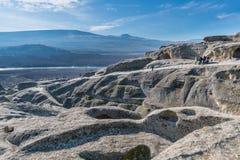 Uplistsikhe, una città roccia-spaccata antica in Georgia orientale Immagine Stock Libera da Diritti