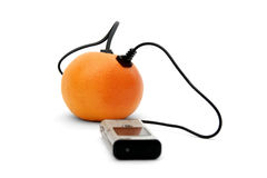 Upload arancione di dati immagini stock libere da diritti
