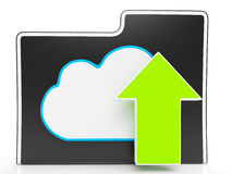 Upload Arrow And Cloud File Shows Uploading Royalty Free Stock Photo
