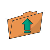 Upload arrow of digital concept. Upload arrow and file icon. Digital web application and technology theme. Isolated design. Vector illustration Royalty Free Stock Images