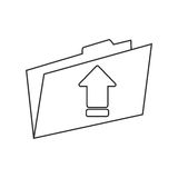 Upload arrow of digital concept. Upload arrow and file icon. Digital web application and technology theme. Isolated design. Vector illustration Royalty Free Stock Photography