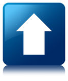 Upload arrow icon blue square button Stock Images