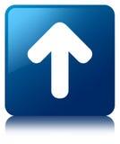 Upload arrow icon blue square button Stock Photo