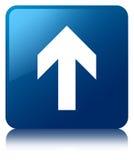 Upload arrow icon blue square button Stock Photos