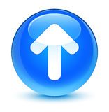 Upload arrow icon glassy cyan blue round button Stock Photography