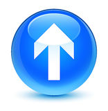 Upload arrow icon glassy cyan blue round button Stock Images