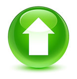 Upload arrow icon glassy green round button Royalty Free Stock Images