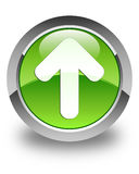 Upload arrow icon glossy green round button Royalty Free Stock Photos