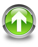 Upload arrow icon glossy green round button Royalty Free Stock Images