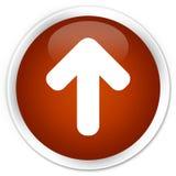 Upload arrow icon premium brown round button. Upload arrow icon isolated on premium brown round button abstract illustration Stock Photos
