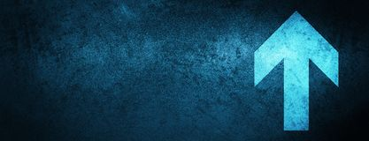 Upload arrow icon special blue banner background. Upload arrow icon isolated on special blue banner background abstract illustration royalty free illustration
