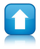 Upload arrow icon special cyan blue square button Royalty Free Stock Photo