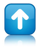 Upload arrow icon special cyan blue square button Stock Image