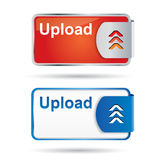 Upload button with reflection and icon Stock Photo