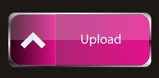 Upload button. Vector pink upload button with silver frame Stock Photography