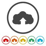Upload from cloud icon. Upload button. Load symbol. Vector icon stock illustration