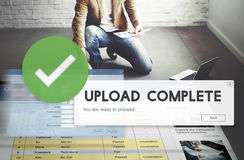 Upload Complete Data Uploading Submit Technology Concept stock image