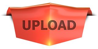 Banner upload. Upload 3D rendered red banner , isolated on white background Royalty Free Stock Photography