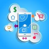 Upload data concept. Smartphone synchronizing data Stock Image