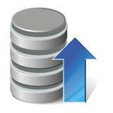 Upload database. Database upload icon with blue arrow as update symbol. Isolated on white Royalty Free Stock Image