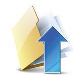 Upload database. Uploading vector icon, folder with blue arrow isolated on white background royalty free illustration