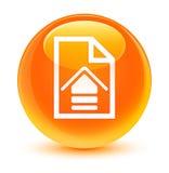 Upload document icon glassy orange round button Royalty Free Stock Images