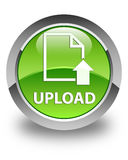 Upload (document icon) glossy green round button Stock Photos