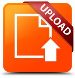 Upload (document icon) orange square button red ribbon in corner Stock Photos
