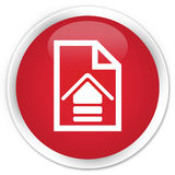 Upload document icon premium red round button Royalty Free Stock Photos