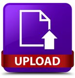 Upload (document icon) purple square button red ribbon in middle Royalty Free Stock Photo