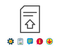 Upload Document line icon. File sign. Upload Document line icon. Information File sign. Paper page concept symbol. Report, Service and Information line signs Royalty Free Stock Images