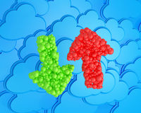 Upload and download arrows on cloudy background. Upload and download arrows made from spheres on cloud computing icon background stock illustration