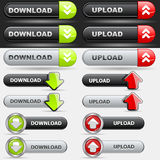 Upload and Download Button Set Stock Images