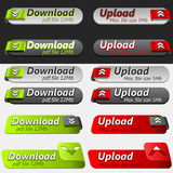 Upload and Download Button Set. Black and grey web upload button set Royalty Free Stock Images