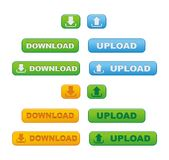 Upload and download button sets Royalty Free Stock Photo