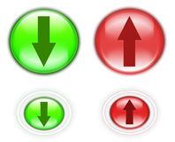 Upload and download buttons. Upload & download website buttons isolated over white background stock image