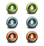 Upload and download buttons. Set of six colorful upload and download buttons suitable for various websites Stock Photos