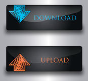 Upload, download buttons. Stylish vector buttons Download and Upload Stock Photography