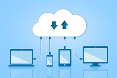 Upload Download Cloud Computing Flat Vector Illustration  Stock Photos
