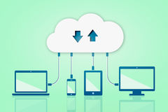 Upload Download Cloud Computing Flat Vector Illustration  Royalty Free Stock Photo