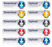 Upload Download Files - Internet button Gel Icon. Four colors Upload Download Gel Buttons with space for text Royalty Free Stock Image
